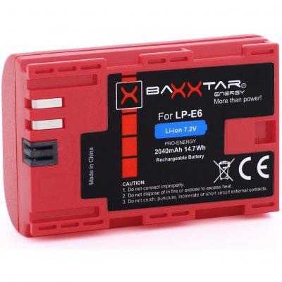 Batería Baxxtar Pro de Calidad para Canon LP-E6 con Infochip
