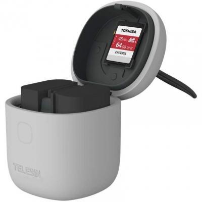 Telesin Allin Box Cargador De Batería Dual Usb Lp-e6 Para Canon 5d Mark Ii
