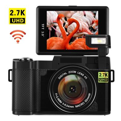 Cámara Digital con WiFi 24.0 MP Cámara Vlogging 2.7K Ultra HD 3.0 Pulgadas Cámara con Pantalla Plegable Linterna retráctil