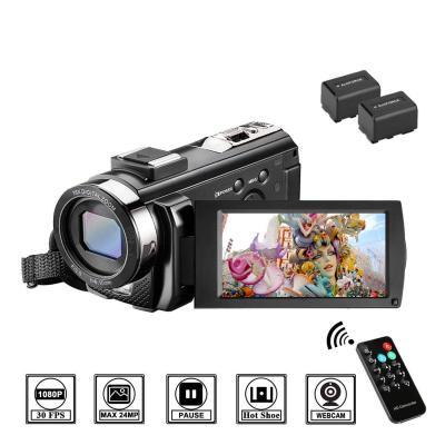 Videocámara con Control Remoto y Dos Baterías Cámara de Video Full HD 1080P 30FPS 24MP Pantalla LCD de 3 Pulgadas Rotación 270 Digital Zoom 16X Webcámara