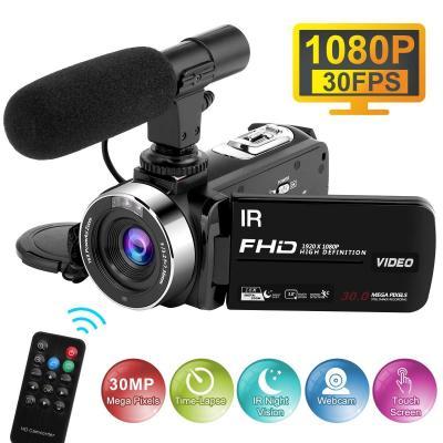 Videocamara con Micrófono 1080P 30FPS 30MP Video de Cámara Full HD Time-Lapse Videocámara de Visión Nocturna 16X Zoom Digital