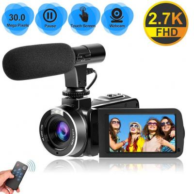 Videocámara Videocamara 2.7K Full HD 30 MP Cámara de Video para Youtube Videocámara Digital con 18X Zoom Digital con Micrófono táctil de 3.0 Pulgadas IPS
