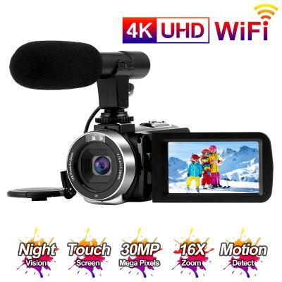 Videocamara 4K Cámara de Video 30MP WiFi Videocámara Vlogging con Pantalla Táctil de 3.0Cámara Nocturna de Visión por Infrarrojos Micrófono Externo Time-Lapse