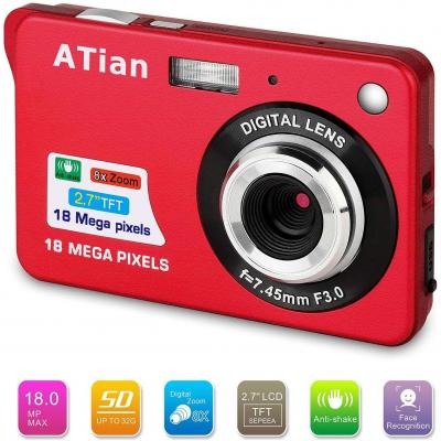 ATian Compactas Cámaras Digitales 2.7 Pulgadas LCD 8X Zoom Digital Anti-vibración Recargable HD Cámara Digital para Estudiantes Adultos Mayores niños