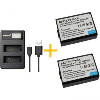 2 Piezas 2200mah Lp-e10 Lpe10 Batería Con Cargador De Batería Para Canon Eos Rebel T3