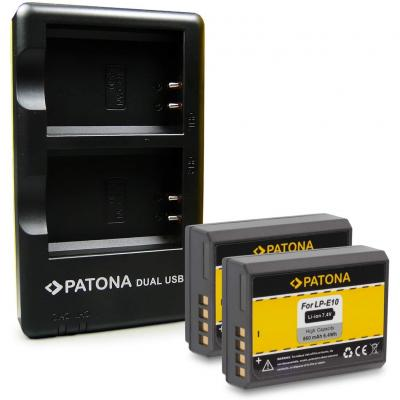 Patona 2in1 Dual Cargador + 2x Batería Lp-e10 Para Canon Eos 1100d Eos 1200d Eos 1300d Eos Rebel T3