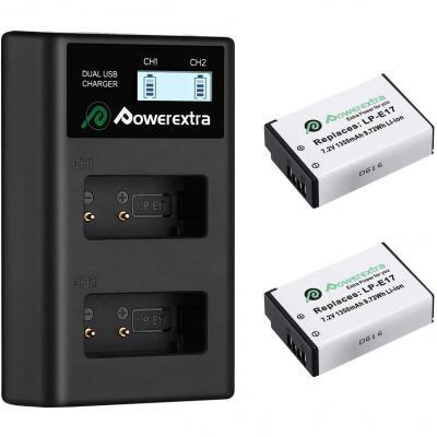 Powerextra Batería Lp-e17 1350mah Con Cargador Pantalla Lcd Para Canon Lp E17 Canon Eos Rebel T6i