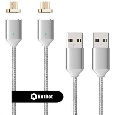 NetDot 2nd Generacion 1m Nylon Trenzado Cable magnético de Carga Rápida con Indicador LED Compatible con Micro USB Teléfono