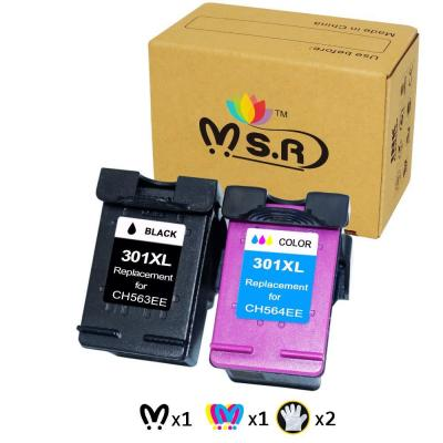 MSR, Cartuchos de Tinta remanufacturados HP 301XL 301 XL para impresoras HP Deskjet 2540 1510 3050 3050A 1050A 3055A HP Envy 4500 5530 5532 HP Officejet 4630 2620 2622 (1 Negro, 1 Tricolor)