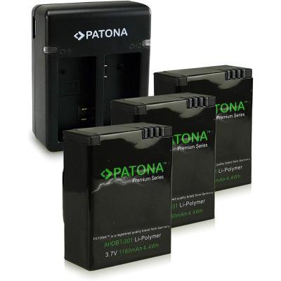 PATONA 2in1 Cargador de batería doble + 3x Premium Batería AHDBT-301