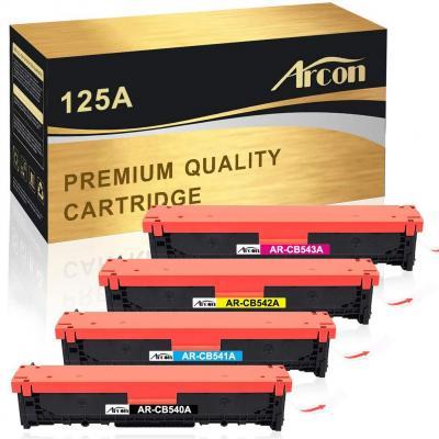 Arcon, Tóner Compatible con HP 125A CB540A CB541A CB542A CB543A para Impresora HP Color Laserjet CP1215 CP15N CP1518NI HP Color Laserjet CM1312 CM1312NFI