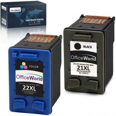 OfficeWorld Remanufacturado HP 21 22 Cartuchos de Tinta 21XL 22XL Compatible con HP Deskjet F380 F4180 F2280 F2180 F370