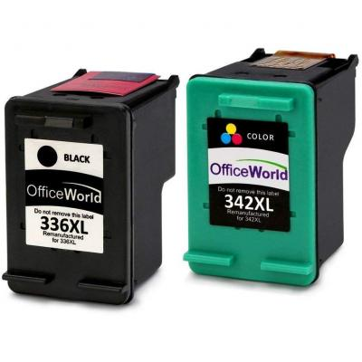 OfficeWorld Remanufactured HP 336 342 Cartuchos de Tinta Compatible para HP Photosmart 2713 2710 2575 C3180 8150 D5160