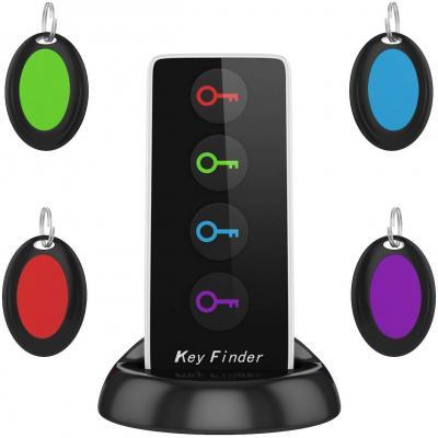 AOGUERBE Localizador de llaves Wireless Key Finder Buscador de Llaves Inalámbrico con Base de Soporte LED Linterna Teléfonos Rastreador Inteligente Cualquier Cosa Locador 4 Receptores y 1 Transmisor