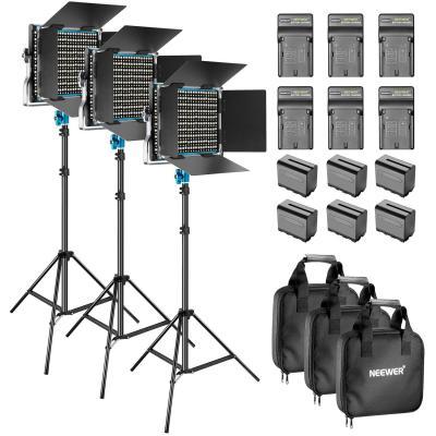 Neewer 3-Piezas Regulable Bi-color 660 LED de Luz de Vídeo con Barndoor y 6