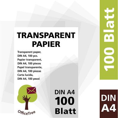 OfficeTree 100 hojas de papel transparente DIN A4