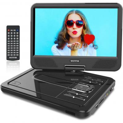 WONNIE 12.5 Reproductor de DVD Portátil con Pantalla Giratoria para Coche Soporte SD USB CD DVD MP3 JPEG 4 Horas Batería Recargable con Mando a Distancia