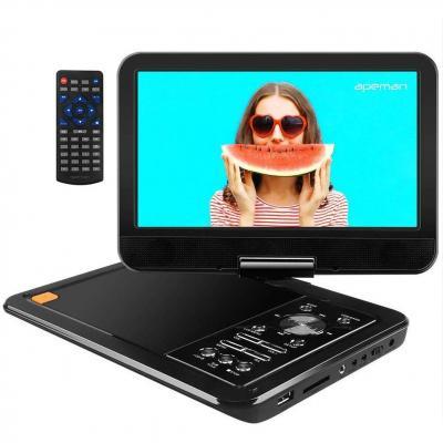 APEMAN 10.5 Reproductor de DVD Portátil para el Coche Reproductor DVD con Pantalla Giratoria Soporta Tarjeta SD USB CD DVD Batería Recargable con Mando a Distancia
