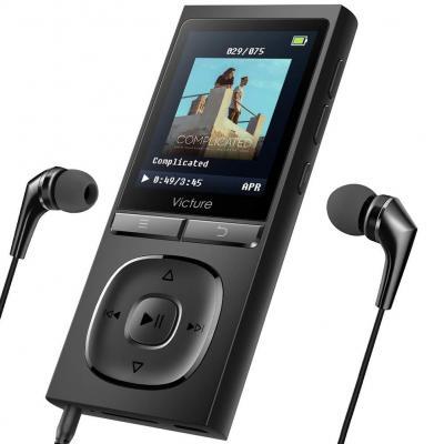 Victure Reproductor de MP3 Capaz de Reproducir 100 Horas de Música Reproductor sin Pérdida de Sonido Reproductor de Música de 8GB Ampliable hasta 64 GB con Auriculares Grabadora de voz FM Radio