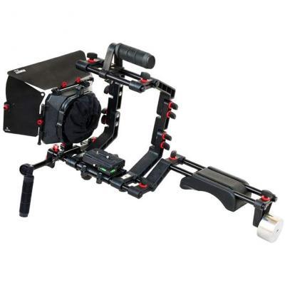 FILMCITY DSLR Cámara soporte de hombro Kit de rig con caja de jaula y mate