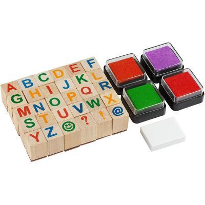 Moore Art- Conjunto de Sellos de Alfabeto de Madera Premium