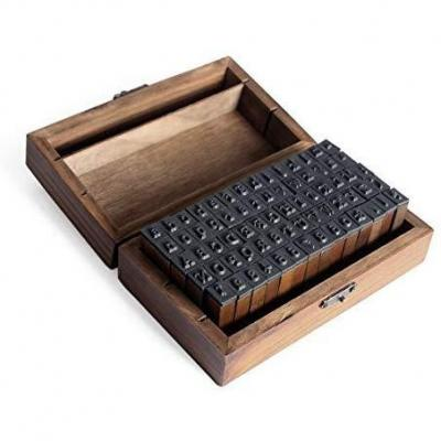 Letras del Alfabeto Sellos-Caucho Letra Número Juego de Sellos de Goma en una Caja de Madera Rústica-70Pcs