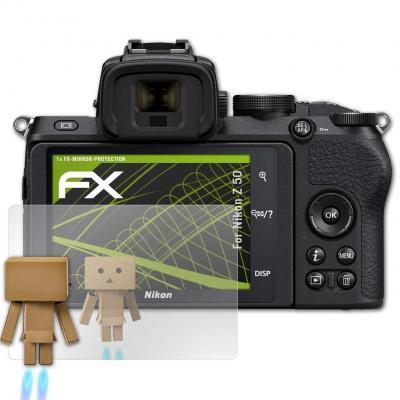AtFoliX Protección de Pantalla Compatible con Nikon Z 50 Lámina Protectora Espejo